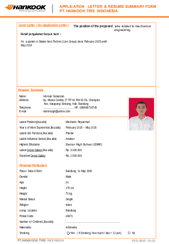 application letter & resume summary form pt. hankook tire indonesia