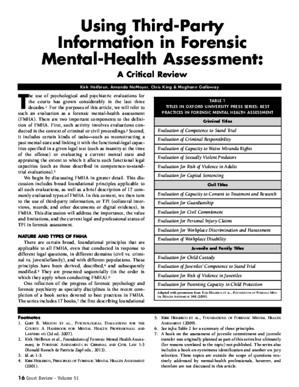 151b6bba34f14 PDF) Using third party information in forensic mental health ...