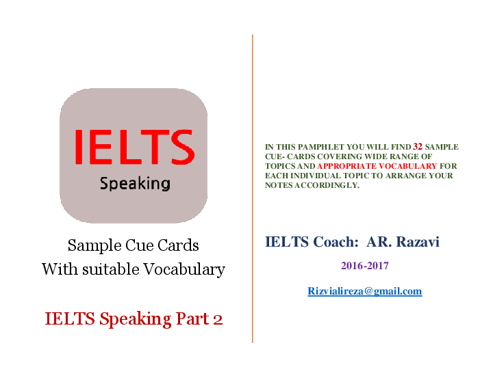 PDF) IELTS Sample Cue Cards With suitable Vocabulary- Speaking Part