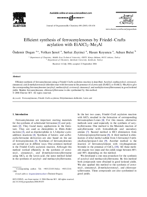 PDF) Efficient synthesis of ferrocenylenones by Friedel