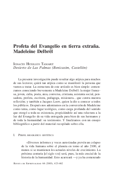 Pdf 2005 Profeta Del Evangelio En Tierra Extraña