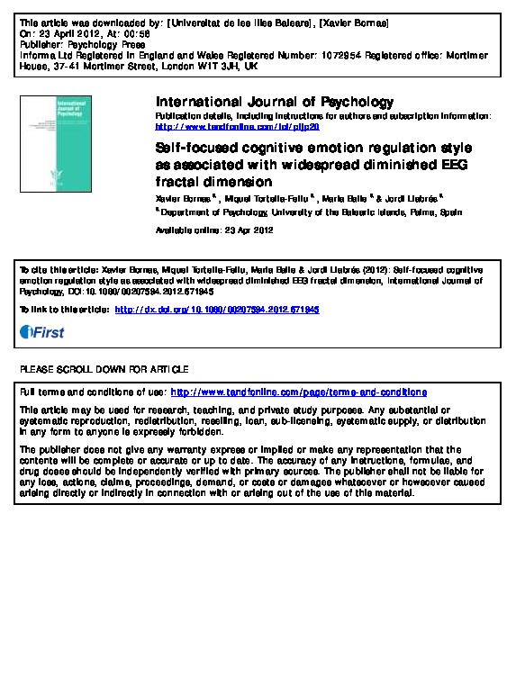 PDF) Self-focused cognitive emotion regulation style as
