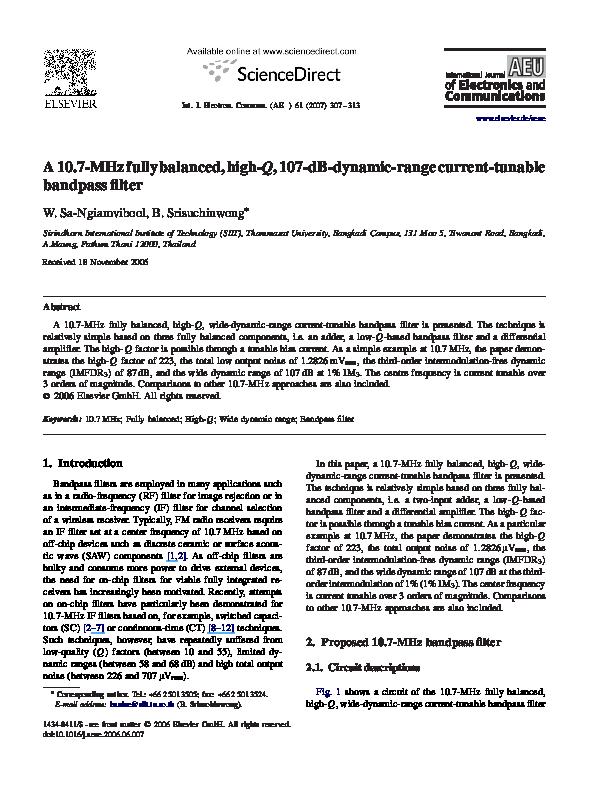 PDF) A 10 7MHz fully balanced, high- Q , 107-dB-dynamic