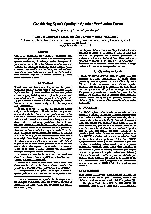 PDF) Considering speech quality in speaker verification