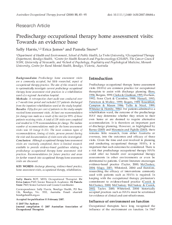 Pdf Predischarge Occupational Therapy Home Assessment Visits Towards An Evidence Base Pamela Snow Academia Edu