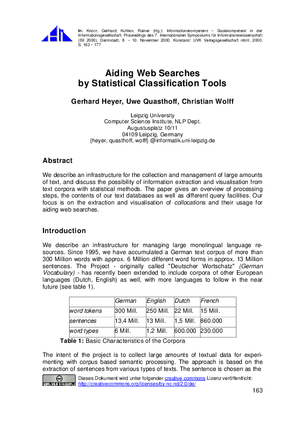 PDF) Aiding Web Searches by Statistical Classification Tools