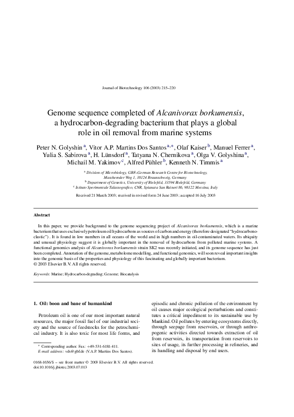 PDF) Genome sequence completed of Alcanivorax borkumensis, a