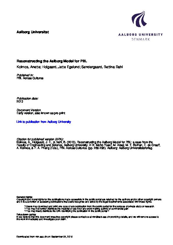 PDF) Reconstructing the Aalborg Model for PBL   Bettina