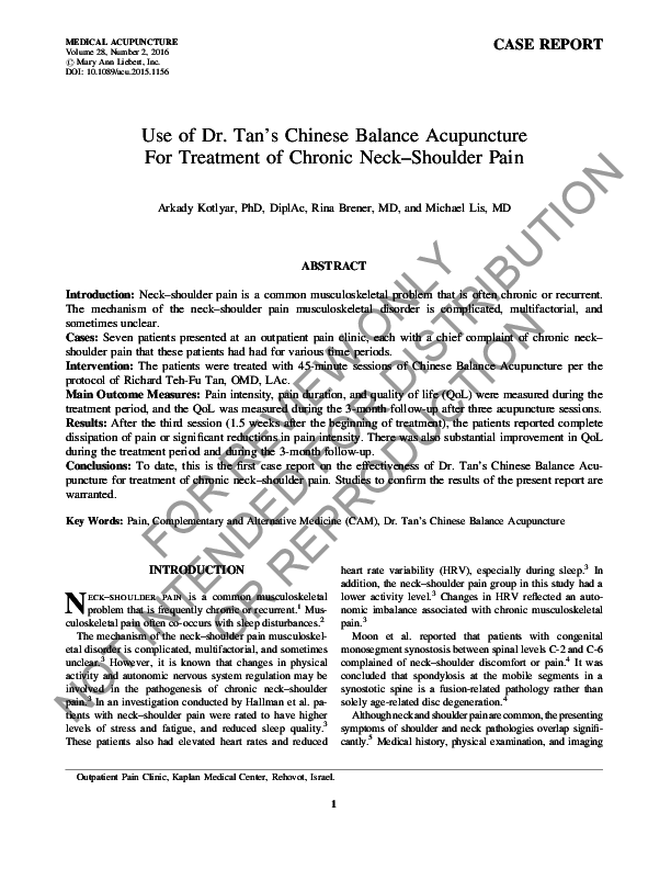 PDF) Use of Dr  Tan's Chinese Balance Acupuncture for Treatment of