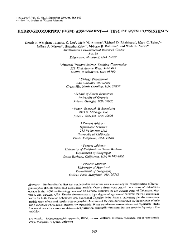 PDF) Hydrogeomorphic (HGM) assessment—A test of user consistency