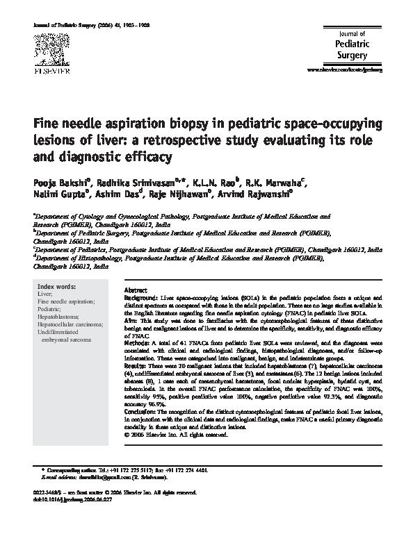 PDF) Fine needle aspiration biopsy in pediatric space