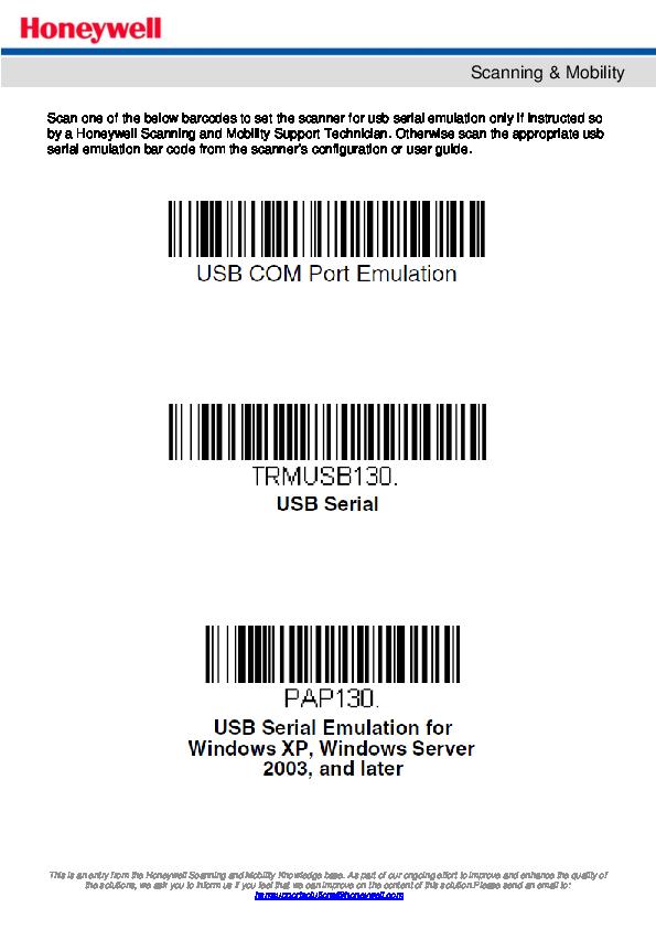 PDF) Honeywell USB Serial Emulation Bar Codes   best nexux