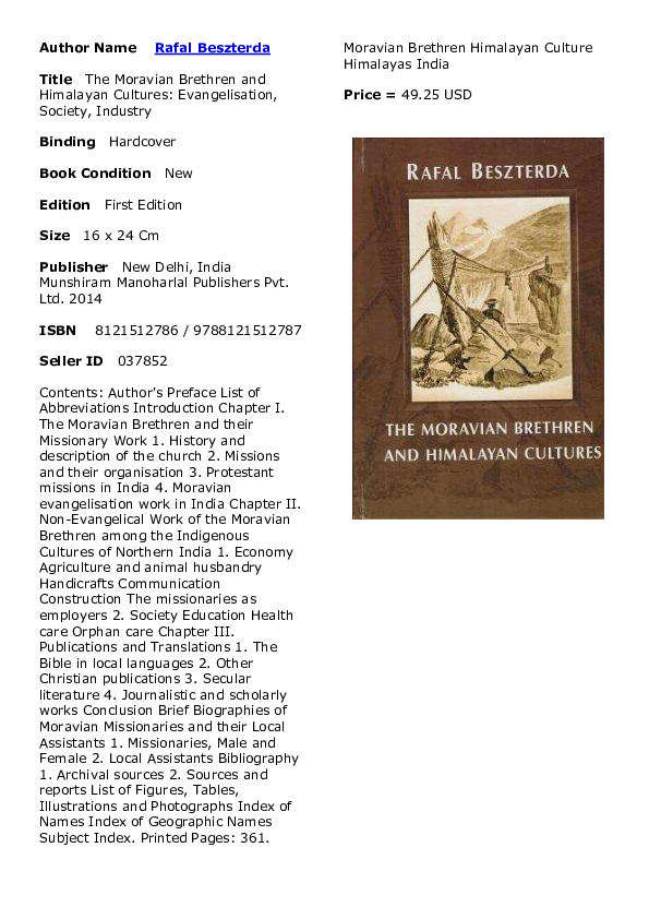 PDF) Beszterda Moravian Brethren and Himalayan Cultures.pdf ...