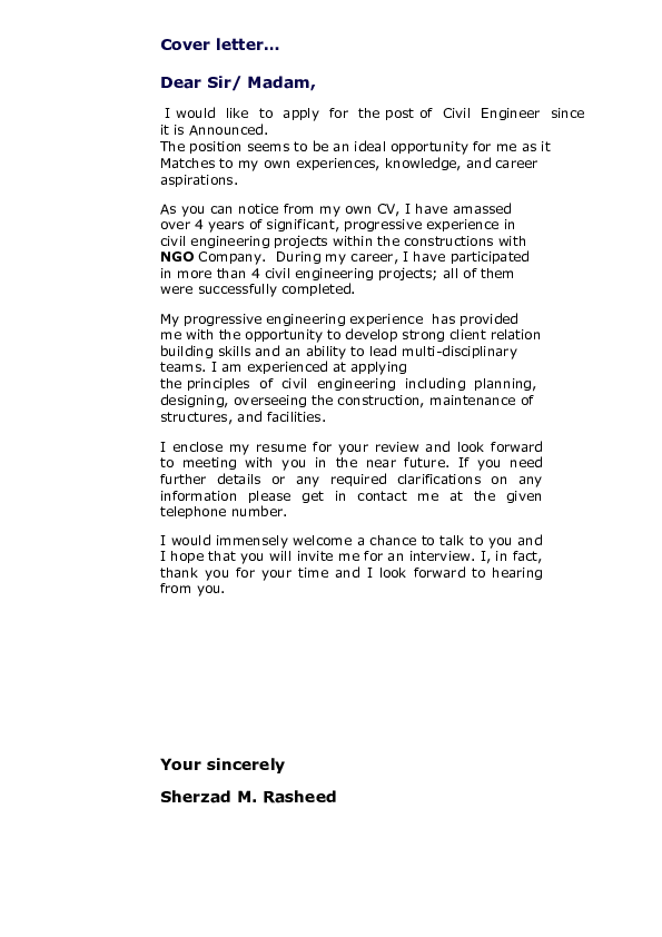 Pdf Cover Letter Dear Sir Madam