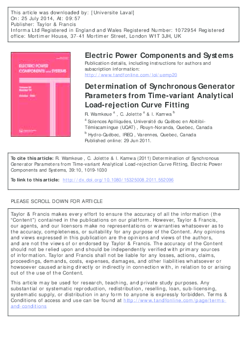 PDF) Determination of Synchronous Generator Parameters from