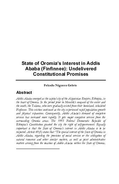 PDF) State of Oromia's Interest in Addis Ababa (Finfinnee