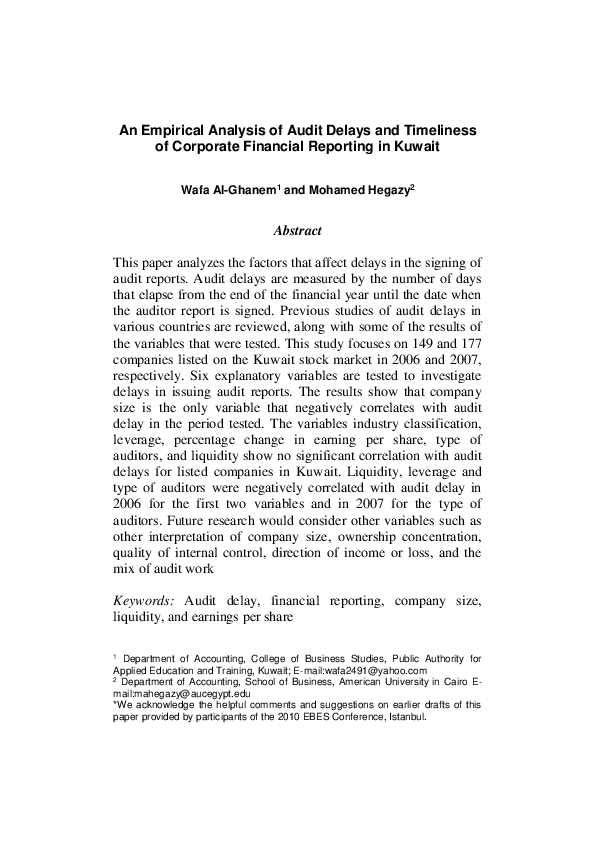 PDF) An Empirical Analysis of Audit Delays and Timeliness of