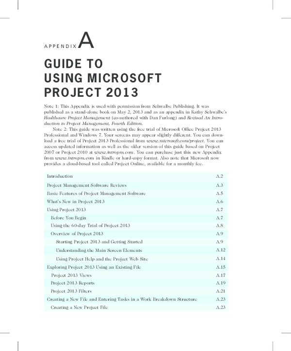 Pdf A P P E N D I X A Guide To Using Microsoft Project 2013 Emmanuel Manu Academia Edu