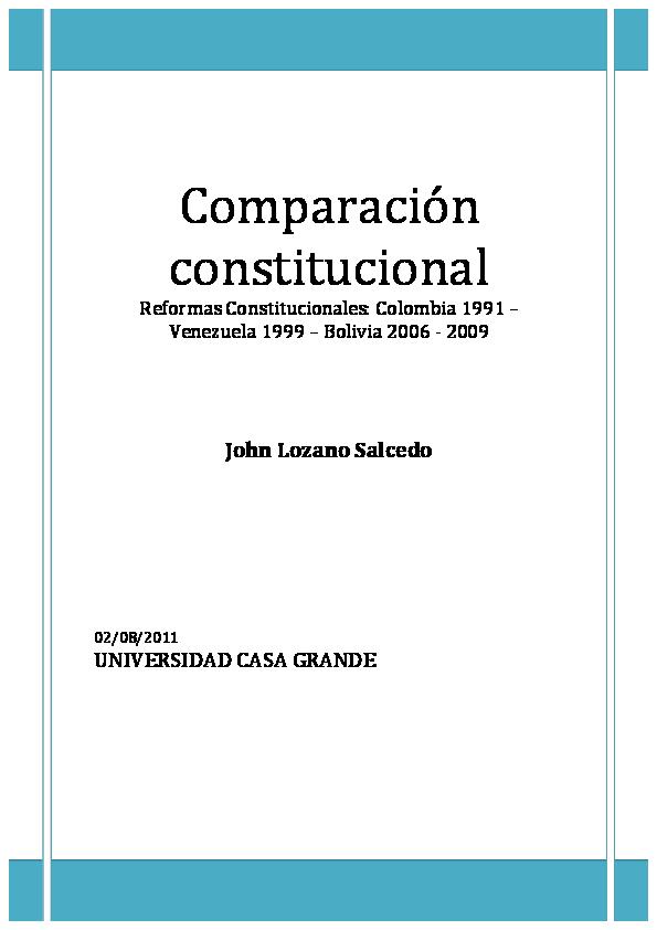 Pdf Comparación Constitucional Colombia 1991 Bolivia