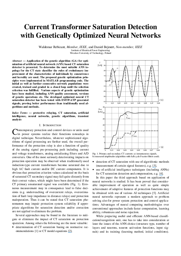 PDF) Current transformer saturation detection with genetically