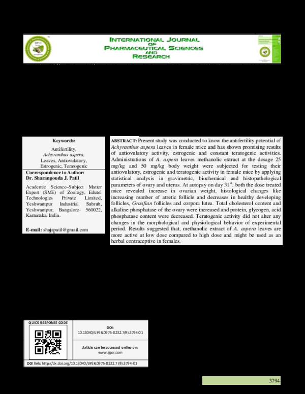 PDF) EVALUATION OF ANTIFERTILITY ACTIVITY OF ACHYRANTHUS
