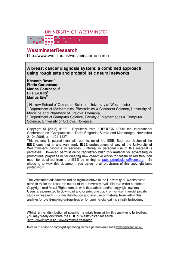PDF) A Breast Cancer Diagnosis System: A Combined Approach