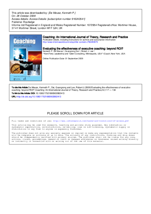 PDF) Evaluating the effectiveness of executive coaching