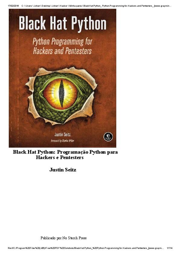 PDF) Black Hat Python: Programação Python para Hackers e
