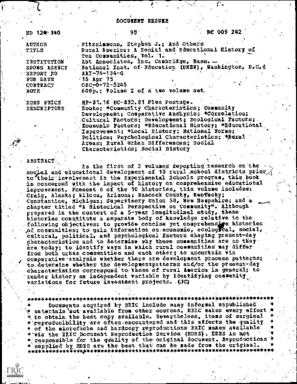 Pdf Rural America A Social And Educational History Of Ten Communities Vol 2 Stephen Fitzsimmons Academia Edu