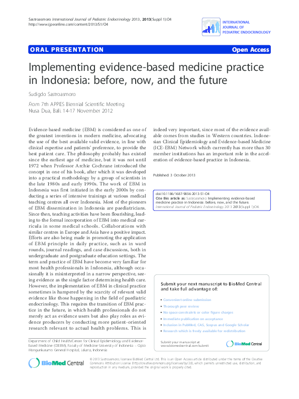 PDF) Implementing evidence-based medicine practice in Indonesia