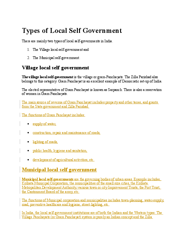 DOC) Types of Local Self Government | Shradha Deshmukh - Academia edu