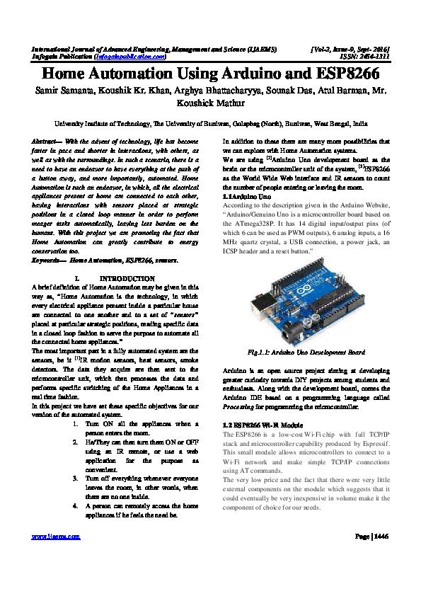 PDF) Home Automation Using Arduino and ESP8266   Ijaems