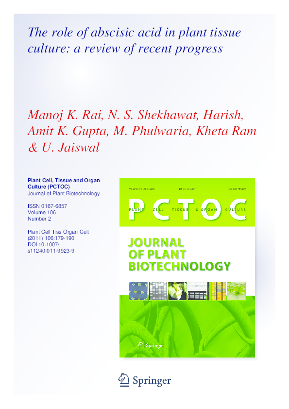 PDF) The role of abscisic acid in plant tissue culture: a