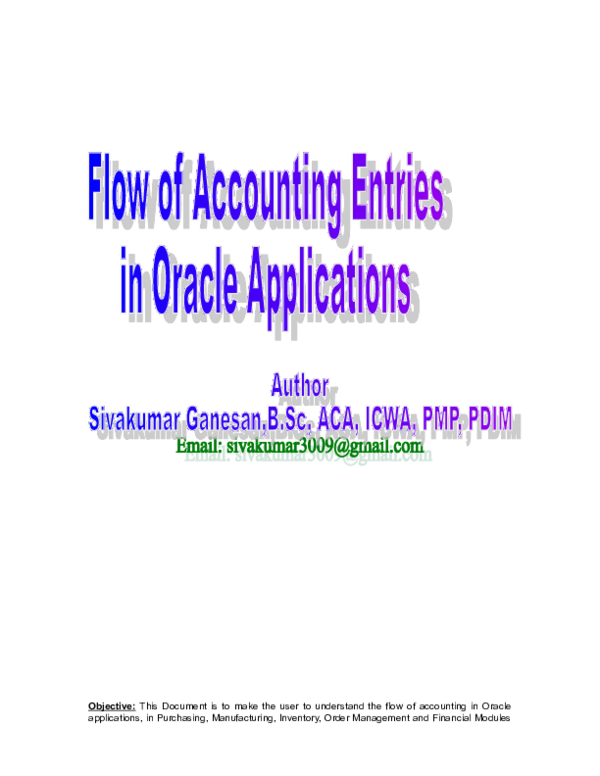 DOC) Flow of Accounting Entries in Oracle Applications