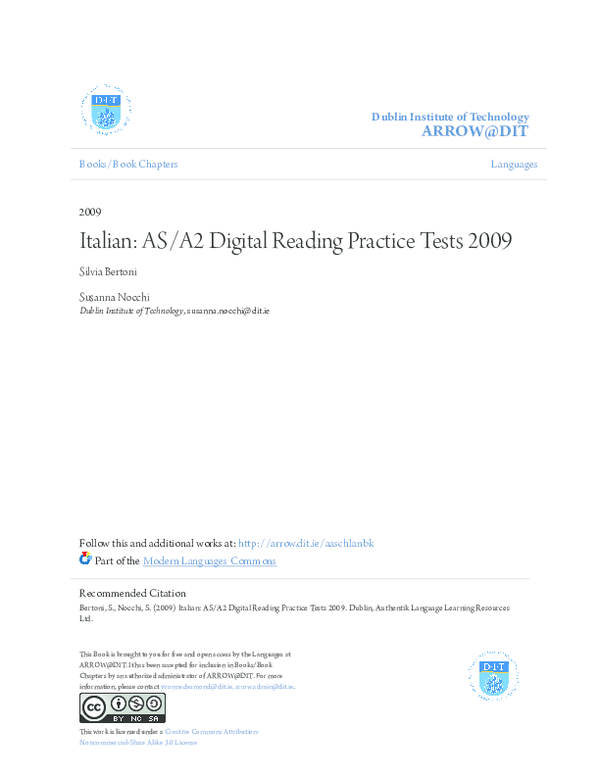 PDF) Italian: AS/A2 Digital Reading Practice Tests 2009