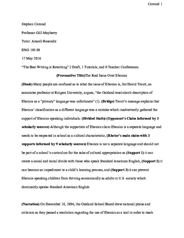 ebonics controversy essay