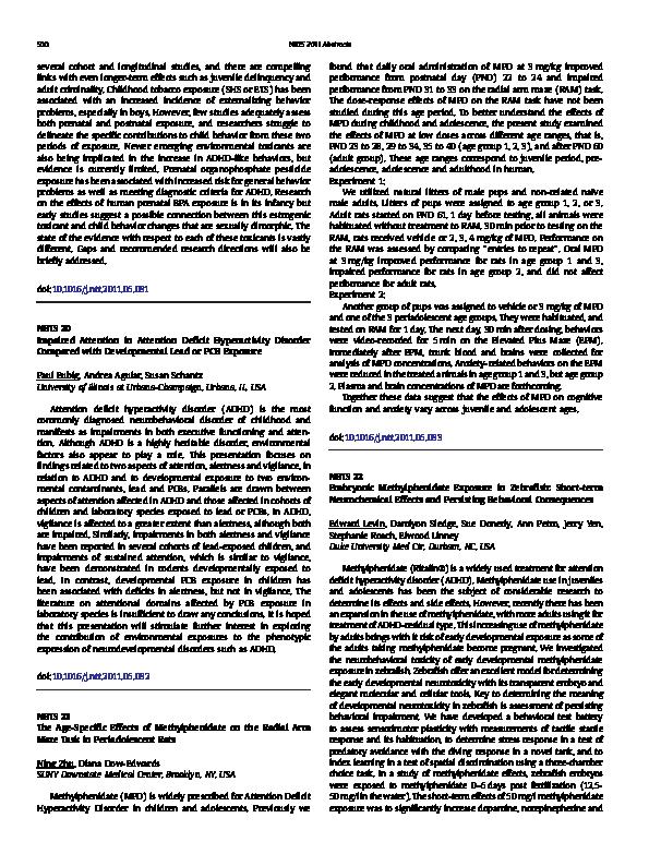 PDF) Embryonic Methylphenidate Exposure in Zebrafish: Short