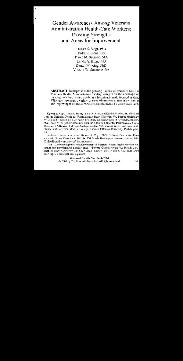 PDF) Gender Awareness Among Veterans Administration