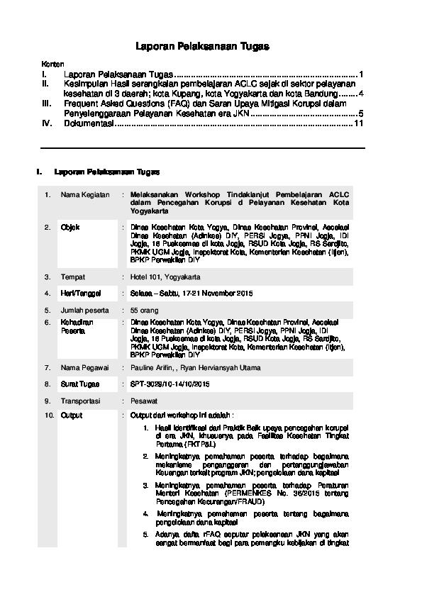 Pdf Laporan Pelaksanaan Tugas Dinkes Kotakupang