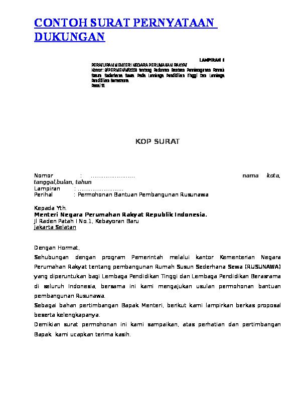 Doc Contoh Surat Pernyataan Dukungan2docx Ismawar