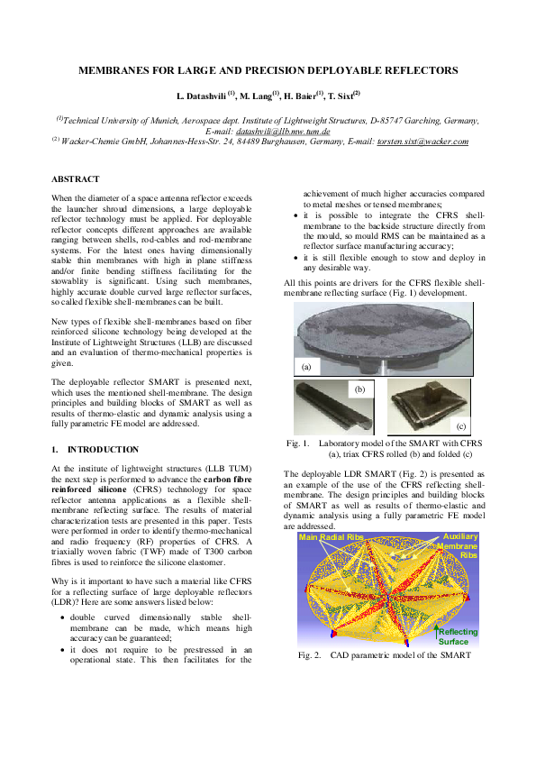 PDF) Membranes for large and precision deployable reflectors