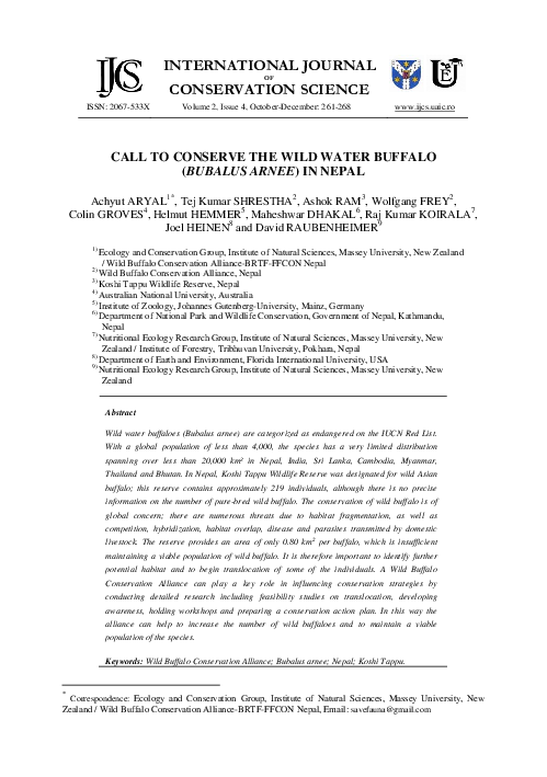 Pdf Call To Conserve The Wild Water Buffalo Bubalus Arnee In Nepal Tej Shrestha Academia Edu