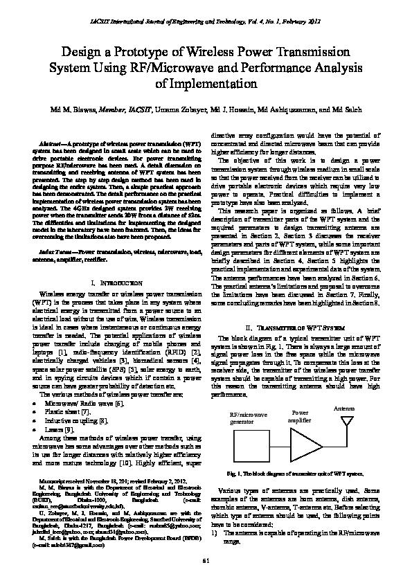 PDF) Design a Prototype of Wireless Power Transmission