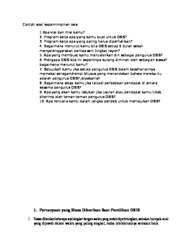 contoh problem solving osis