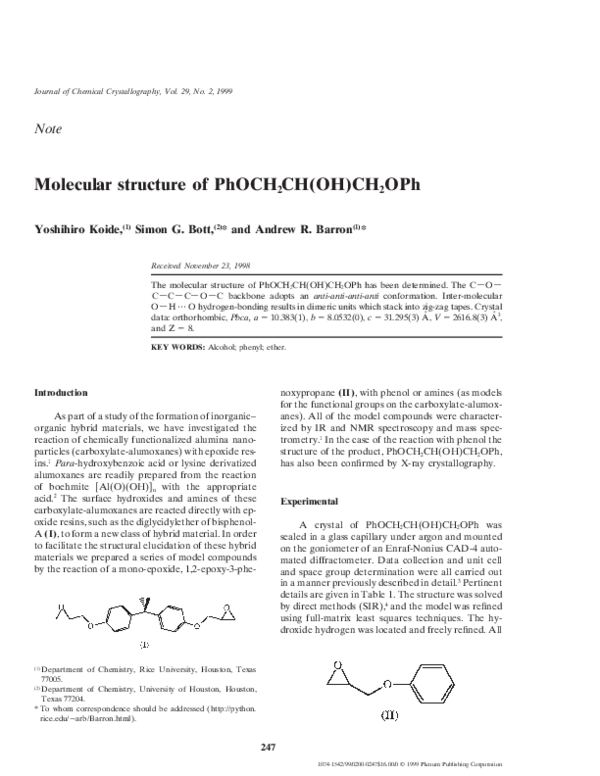 Pdf Molecular Structure Of Phoch2ch Oh Ch2oph Andrew Barron