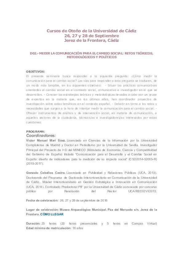 PDF) MEDIR LA COMUNICACIÓN PARA EL CAMBIO SOCIAL: RETOS