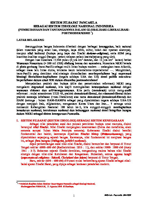 DOC) SISTEM FILSAFAT PANCASILA SEBAGAI SISTEM IDEOLOGI