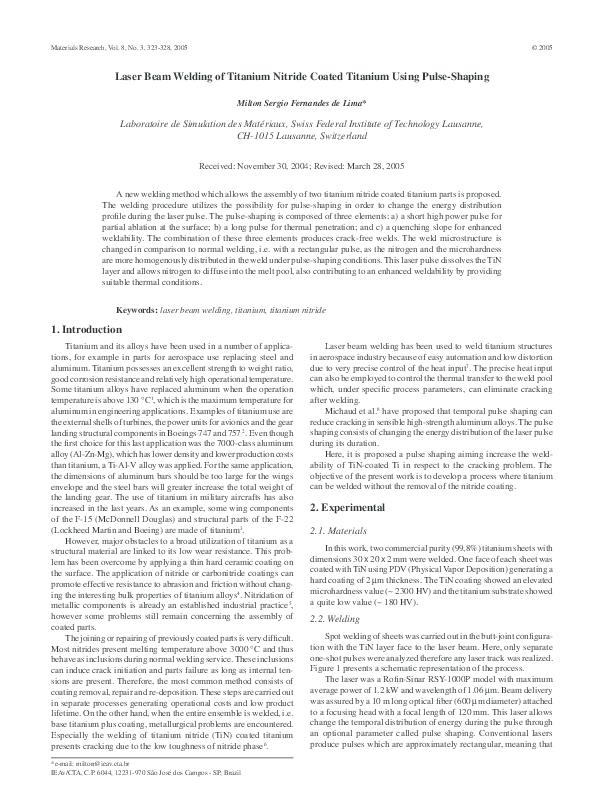 PDF) Laser beam welding of titanium nitride coated titanium