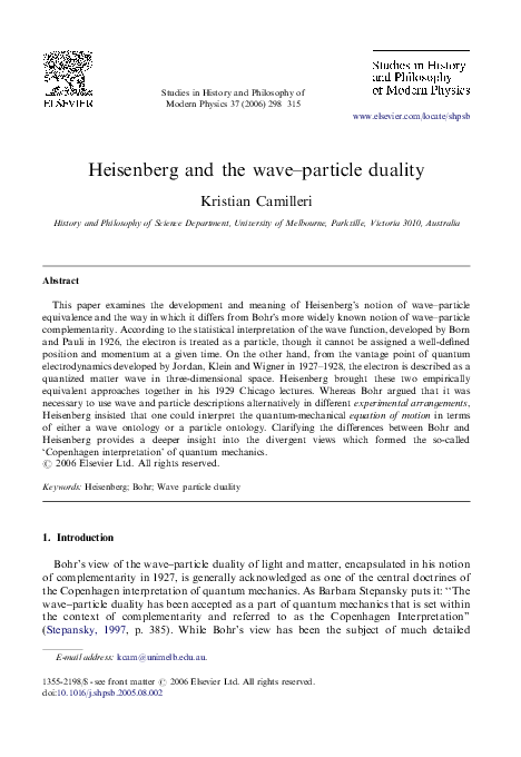 PDF) Heisenberg and the wave–particle duality   Kristian Camilleri