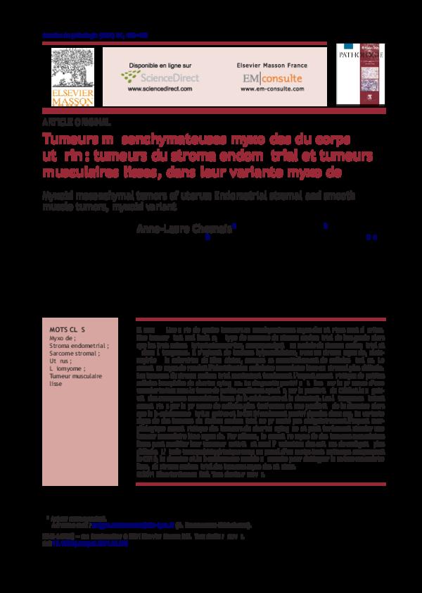 Pdf Tumeurs Mesenchymateuses Myxoides Du Corps Uterin